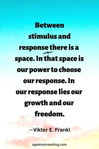 "A bird flying in a blue, pink, and white sky, quote, ""Between stimulus and response there is a space. In that space is our power to choose our response. In our response lies our growth and our freedom."" -Viktor Frankl"