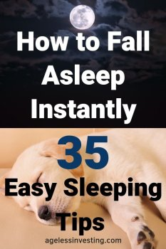 """A yellow lab sleeping and the moon in the night sky, headline """"How to fall asleep instantly 35 Easy Sleeping Tips."""""""