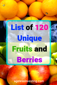 """A picture of oranges, blueberries, green grapes, and red apples. Headline, """"List of fruits and berries."""""""