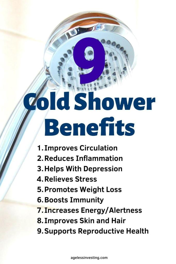 "A picture of a shower head pouring water, headline ""9 cold shower benefits"""