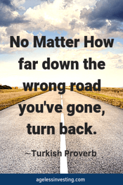 "A long, straight road on a cloudy day, quote ""No matter how far down the wrong road you've gone, turn back"" -Turkish Proverb"