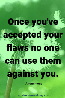 """A dandelion in the wind, quote """"Once you've accepted your flaws no one can use them against you"""" -anonymous"""