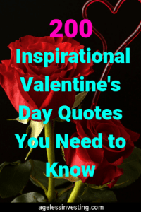 """Red roses on a black background, headline """"200 Inspirational Valentine's Day Quotes You Need to Know"""" agelessinvesting.com"""