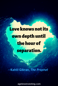 "A heart shaped underwater rock formation, headline quote, ""Love knows not its own depth until the hour of separation."" by Kahlil Gibran"