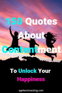 """A picture of Happy people jumping in silhouette against a pink and purple sky, words: """"Quotes About Contentment to Unlock Your Happiness"""" agelessinvesting.com"""