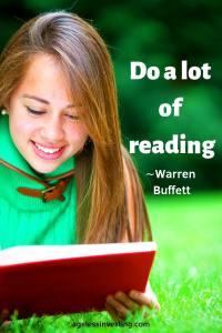 "A girl reading a book outside, headline quote ""Do a lot of reading."" -Warren Buffett"