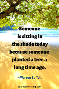 """A tree shading a beach from the sun, headline quote """"Someone is sitting in the shade today because someone planted a tree a long time ago.""""-Warren Buffett"""
