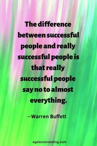 """An abstract image of vertical green and pink lines, """"The difference between successful people and really successful people is that really successful people say no to almost everything."""" -Warren Buffett"""