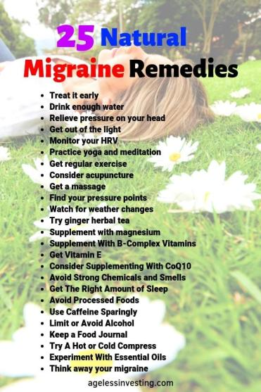"A woman relaxing on the grass, headline ""25 Natural Migraine Remedies"""