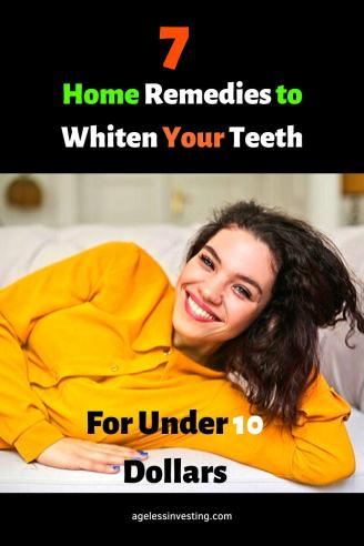 "A picture of a woman smiling and showing her white teeth, headline""7 Home remedies to whiten your teeth"""
