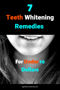 """Photo of a woman's smile, headline """"7 Teeth Whitening Remedies For Under 10 Dollars"""""""