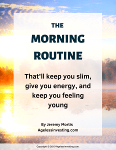 "A picture of the sunrise over water, headline ""The Morning Routine That'll keep you slim, give you energy, and keep you feeling young"""