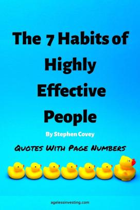 "A picture of 7 yellow rubber ducks in a row facing right, the first duck is twice as big as the rest against a blue background, headline ""The 7 Habits of Highly Effective People"" quotes with Page Numbers"""