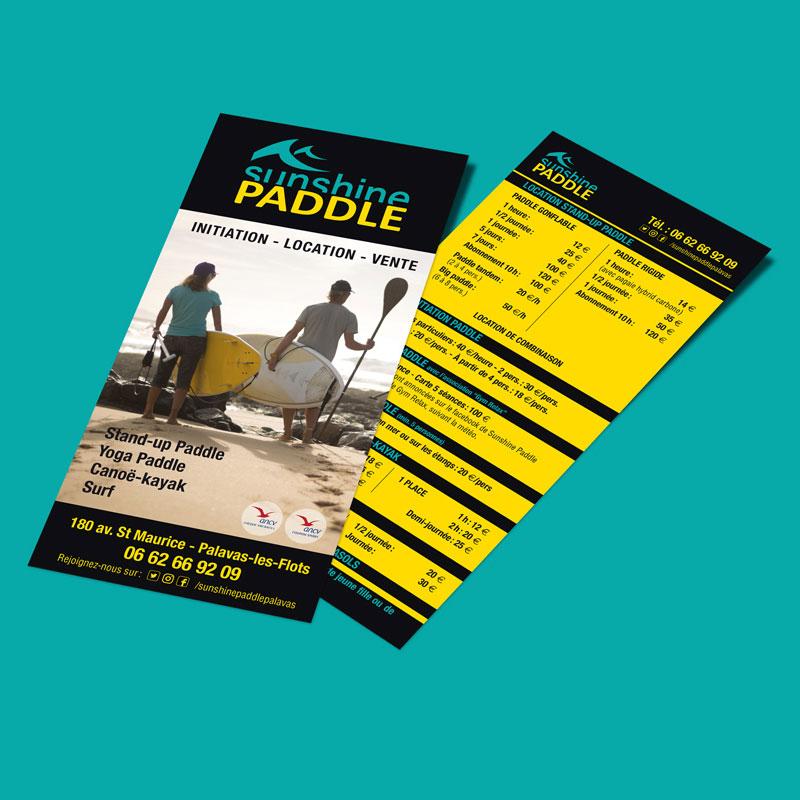 Création du logo et de flyers de communication pour Sunshine Paddle basé à Palavas-les-Flots