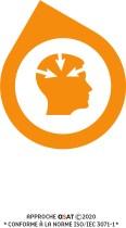 Icône de la perception : image de profil avec 3 flèches qui entrent dans la tête
