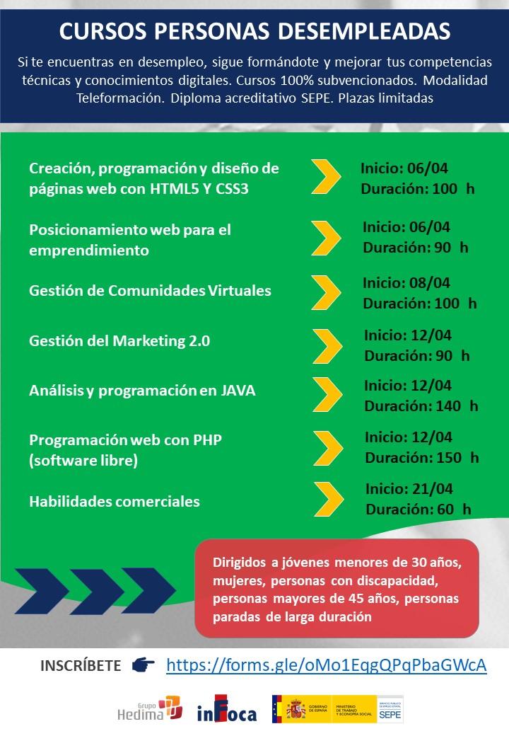 Cursos de formación online para personas desempleadas.