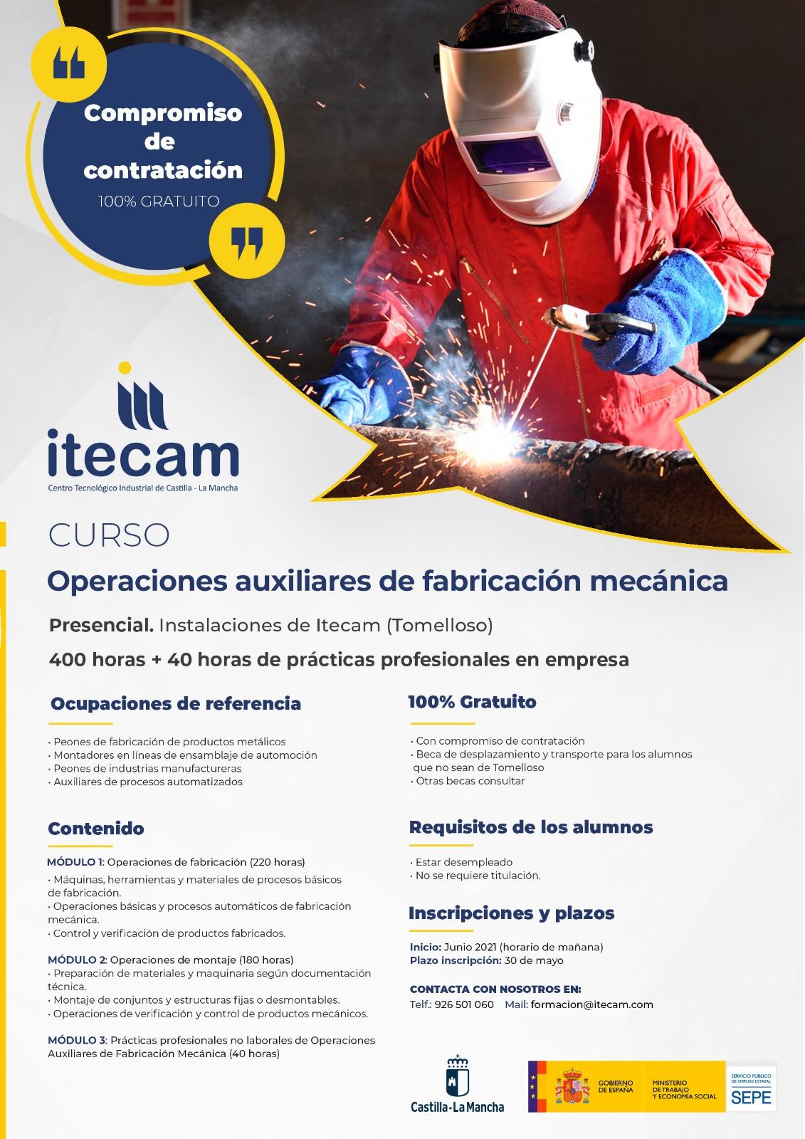Curso «Operaciones auxiliares de fabricación mecánica». ITECAM. Tomelloso (Ciudad Real).