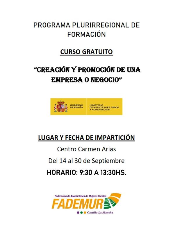 Curso «Creación y promoción de una empresa o negocio». Socuéllamos (Ciudad Real).