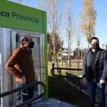 Leo Nardini junto a Vivona y Cuattromo presentó dos nuevos cajeros automáticos del Banco Provincia en Malvinas Argentinas