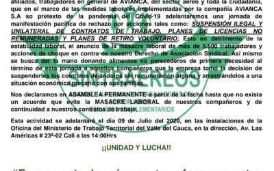 Trabajadores de AVIANCA , en Colombia, denuncian que empresa aprovecha la pandemia para despedir 3.500 empleados