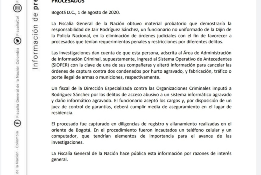 Funcionario de la DIJIN borraba órdenes de captura de condenados