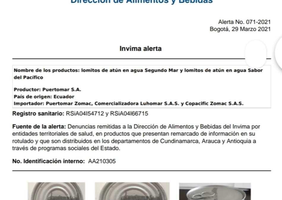 INVIMA emite alerta sanitaria sobre lomitos de atún en agua Segundo Mar y lomitos de atún en agua Sabor del Pacífico procedentes de Ecuador