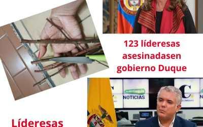 174 líderesas sociales han sido asesinadas desde la firma del proceso de paz;123 de ellas en el gobierno de Duque