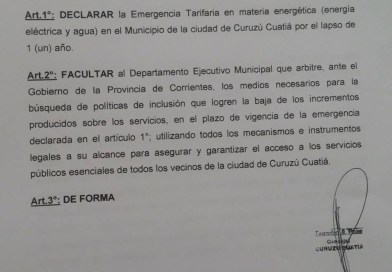 Se declara la emergencia tarifaria en Curuzu Cuatia