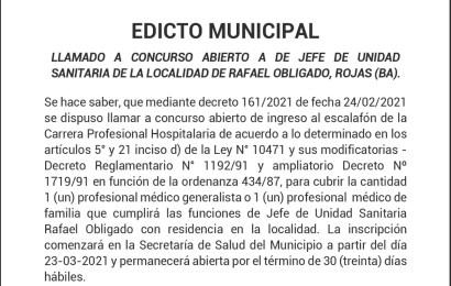 Rafael Obligado: Buscan cubrir Jefatura en la Unidad Sanitaria