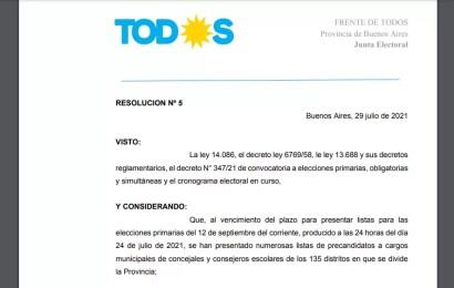 La Junta Electoral del Frente de Todos bajó dos listas