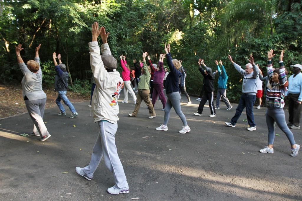 A maior parte dos praticantes de Lian Gong acompanha Nelson há mais de dez anos no Bosque dos Jequitibás; não é preciso ser atleta ou estar em plena forma para conseguir fazer os exercícios simples, porém cheios de carregados de conhecimento milenar