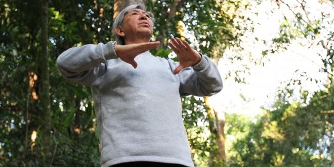 Voluntário compartilha vida e energia com exercícios de Lian Gong no Bosque dos Jequitibás