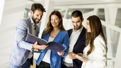 Business partners analyze the business results