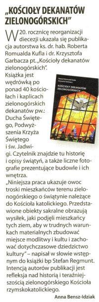 """""""KOŚCIOŁY DEKANATÓW ZIELONOGÓRSKICH"""" w Tygodniku Katolickim """"Niedziela"""" (nr 19) z 6.05.2012 r."""