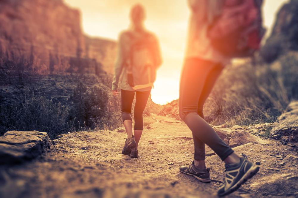 two women hiking at Sedona retreat