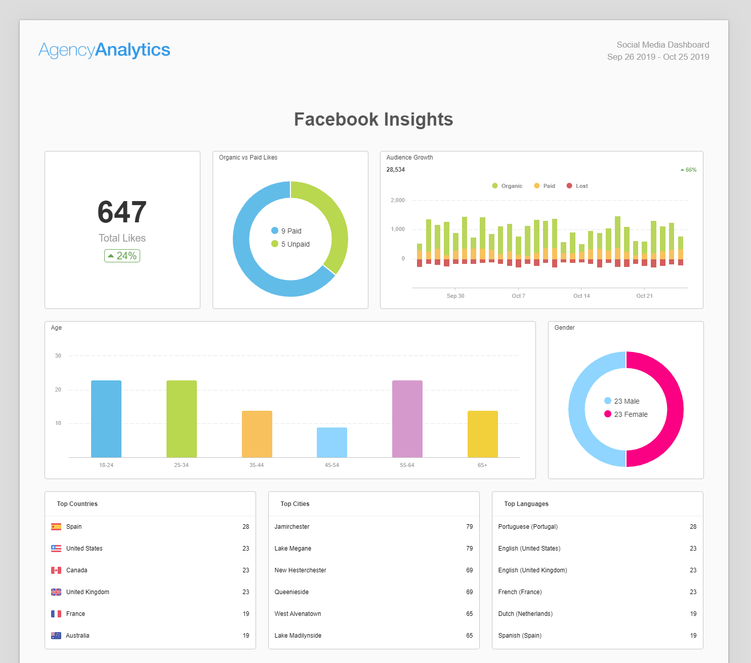 Describe the social media channels (e.g., facebook, twitter) you use, providing details on the audience, brand posts, total engagement, and engagement as a percentage of the total audience. Building A Social Media Report Use Our 6 Section Template Agencyanalytics