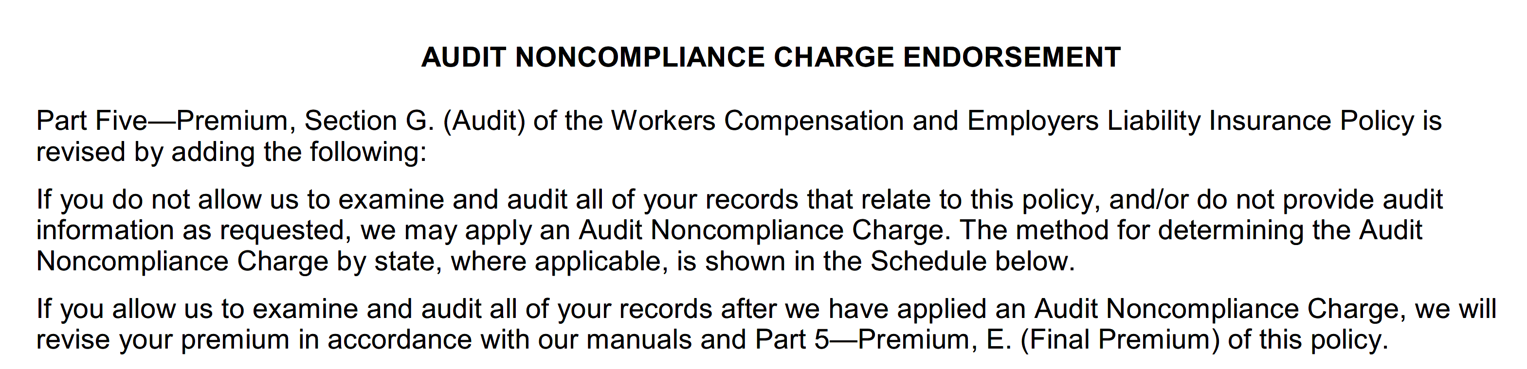 Workers Compensation Audit Noncompliance Surcharge Equal To Two