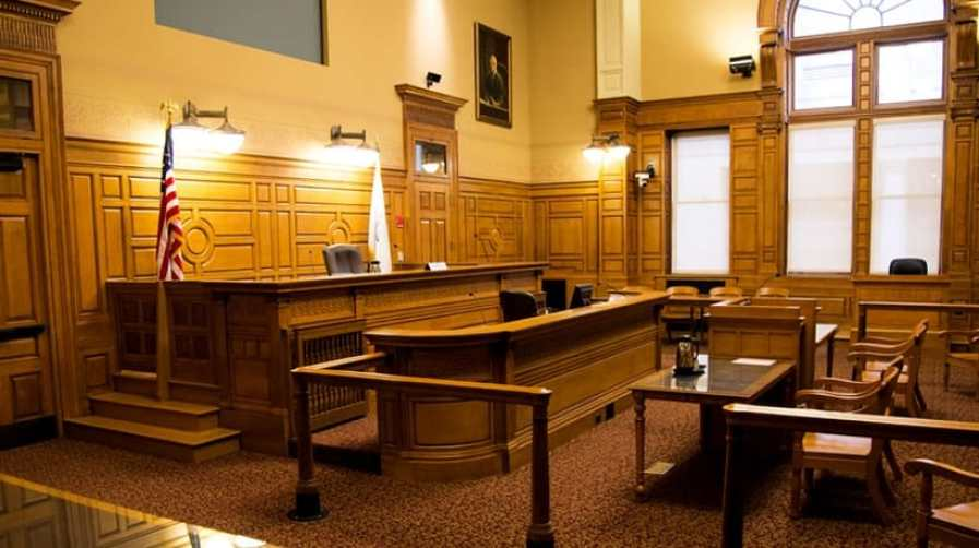 Picture of a courtroom in the John Adams Courthouse in Boston
