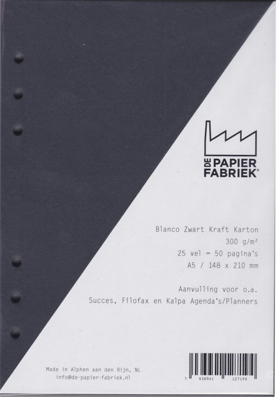 Agenda Vulling A5 Blanco Karton Zwart, 6 Rings (1 st) [BOP-A5BBK]