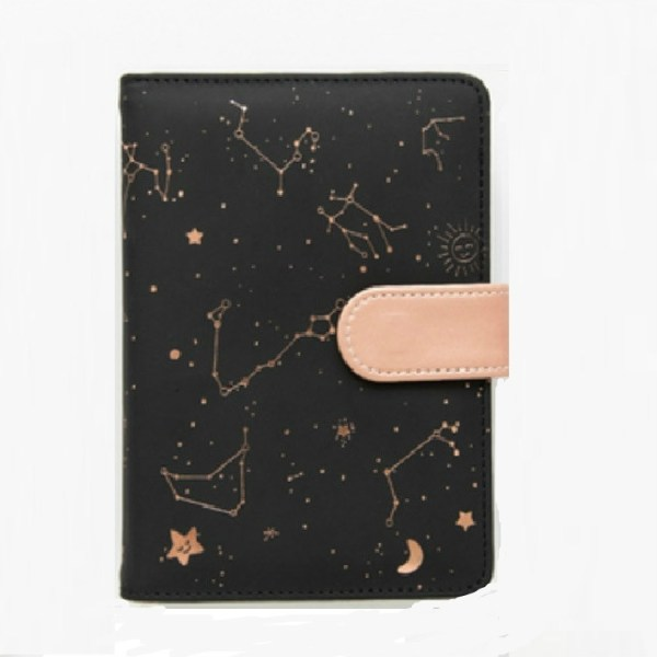 2453 Creative Constellation Schedule Planner Notebook Kawaii Scrapbook Soft Cover Diary Notebooks Office School Supplies(Black)