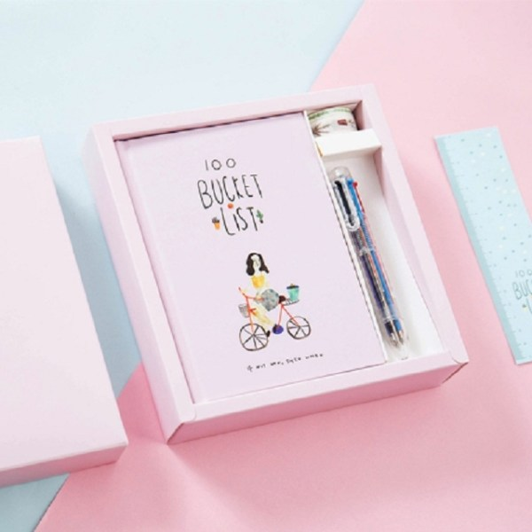 Planner Agenda Scheduler Notebook Stationery Gift with Pen & Stickers(Pink)