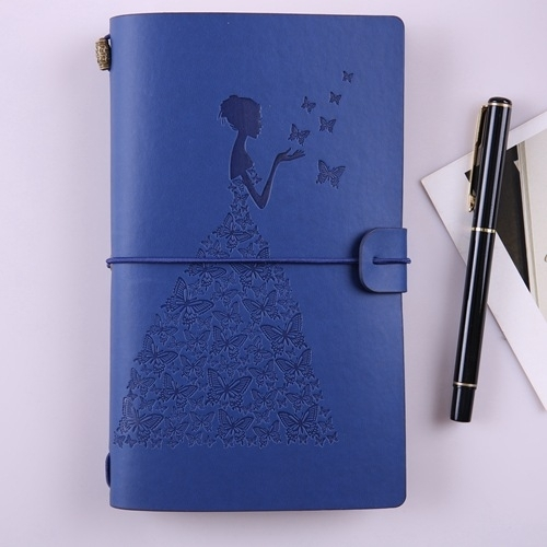 BSD020 vrij Butterfly Lady Vintage Travelers Notebook dagboek Kladblok PU lederen literatuur Journal planners school briefpapier (blauw)