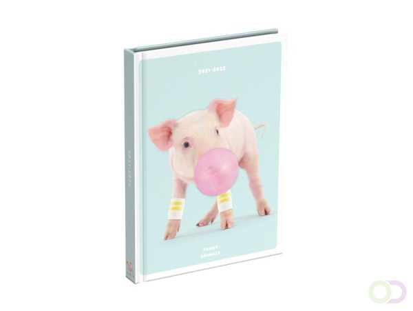 Schoolagenda 2021-2022 funny animals pig 125x175mm