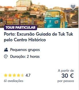tuk tuk excursão Porto