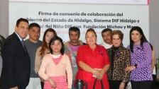 Sistema DIF Hidalgo signaron convenio de colaboración con la fundación Michou y Mau3