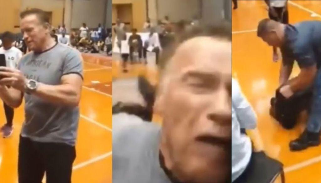 Le aplican ¡Patada voladora! Por la espalda a Arnold Schwarzenegger (Video)