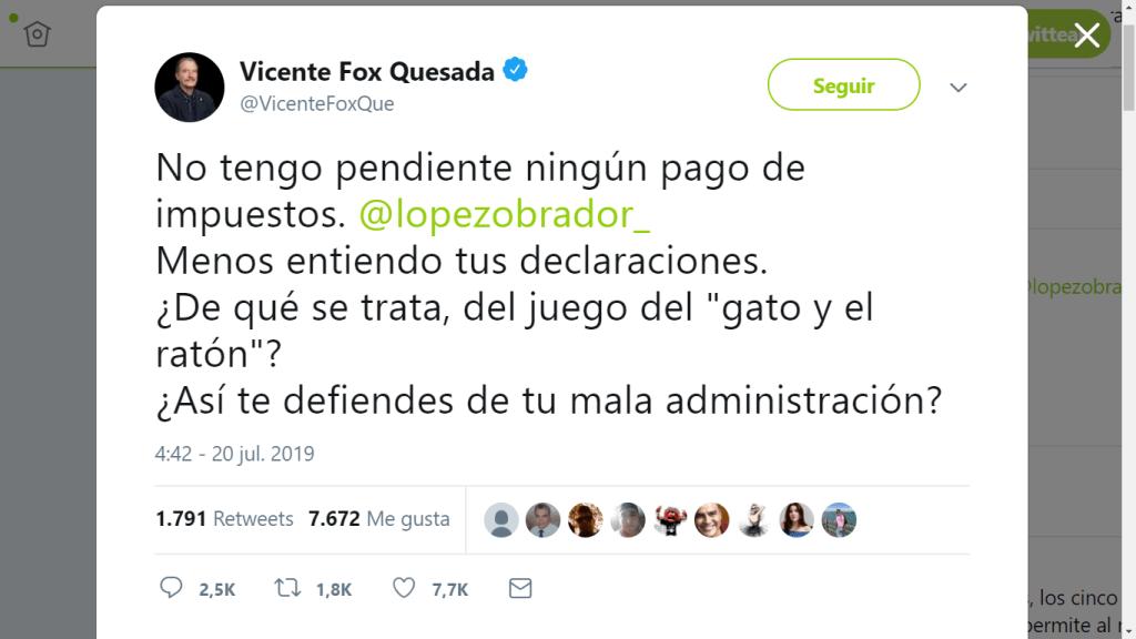 ¡Yo te lo juro que yo no fui! Niega Vicente Fox tener pendientes en el pago de impuestos