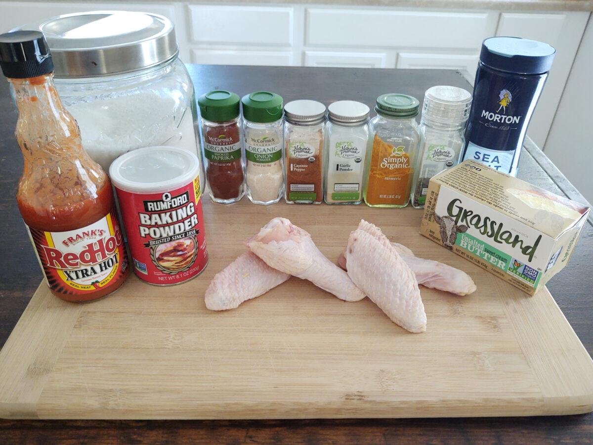 Display of ingredients used to make crispy oven hot wings