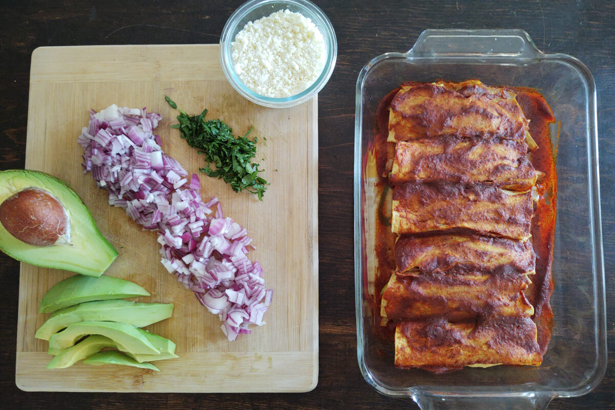 chicken chayote red enchiladas ready for toppings