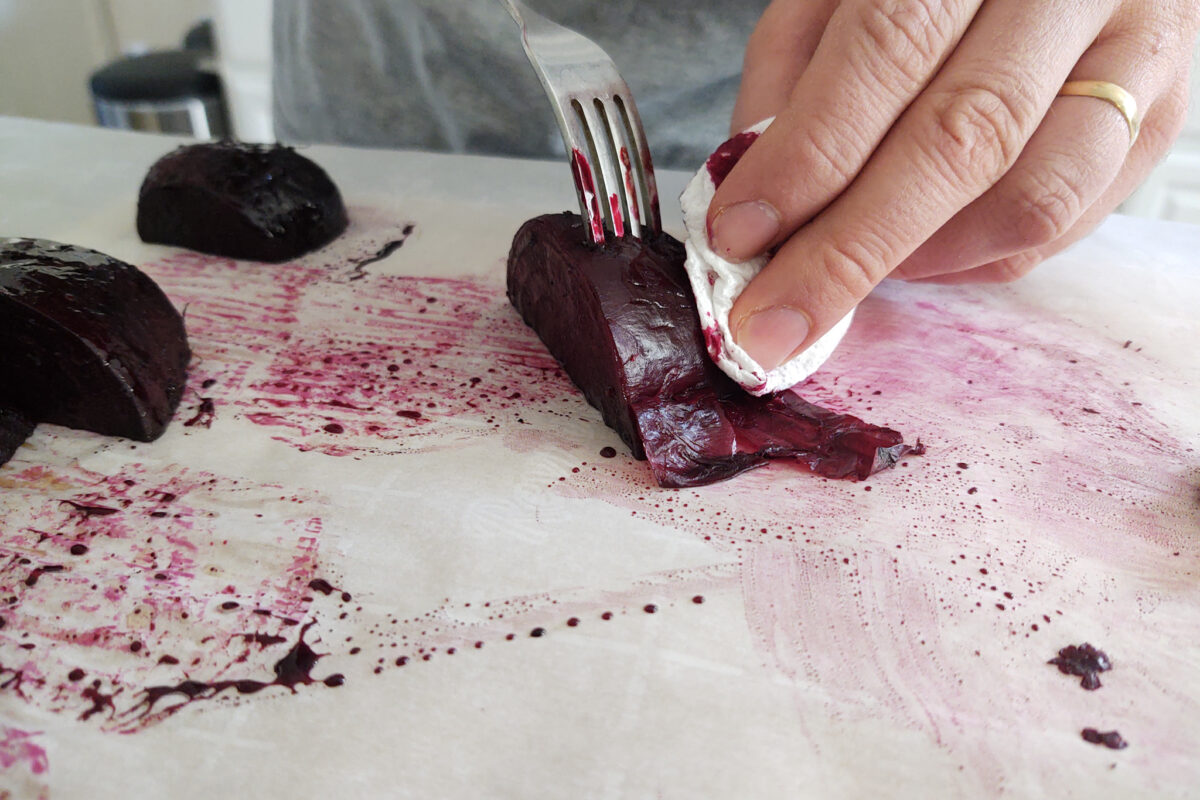 Wiping skin off of oven roasted beet